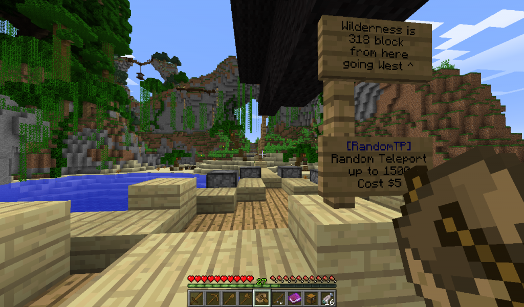 Right click the random teleport sign to teleport up to 1500 blocks